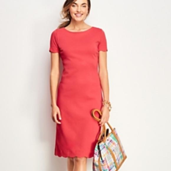 4f1b600611 Talbots scalloped hem knit shift dress